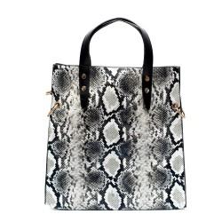 Сива практична дамска чанта от еко кожа със змийски принт-1075