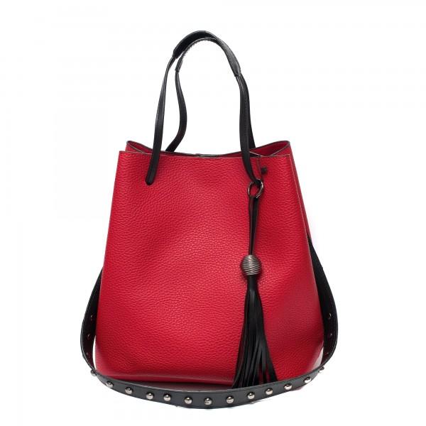 Малка ежедневна червена чанта от еко кожа с метални елементи-1081
