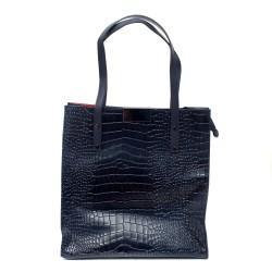 Синя дамска чанта от еко кожа кроко с дълги дръжки-1078