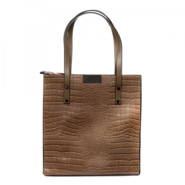 Кафява висока дамска чанта от еко кожа кроко с дълги дръжки-1077