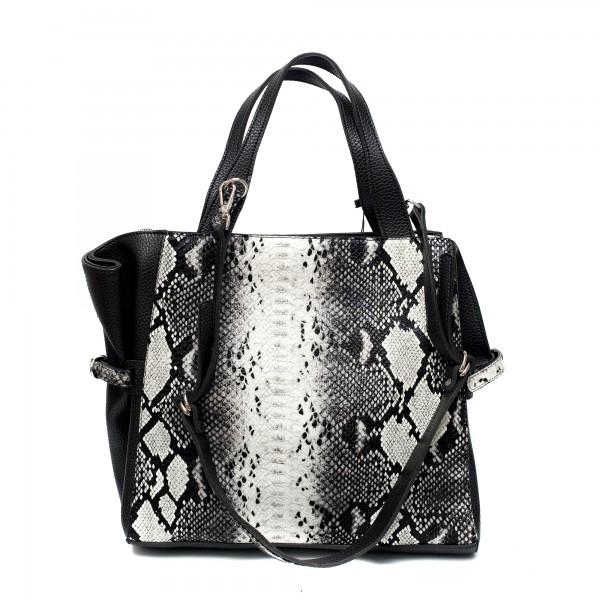 Дамска сива чанта от еко кожа със змийски принт-1083
