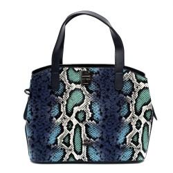 Синьо-зелена дамска чанта от еко кожа със змийски принт-1074