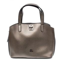 Дамска елегантна чанта от еко кожа  сив металик -1072