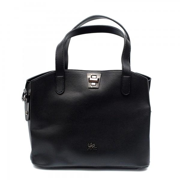 Елегантна дамска черна чанта с ефектно закопчаване-970
