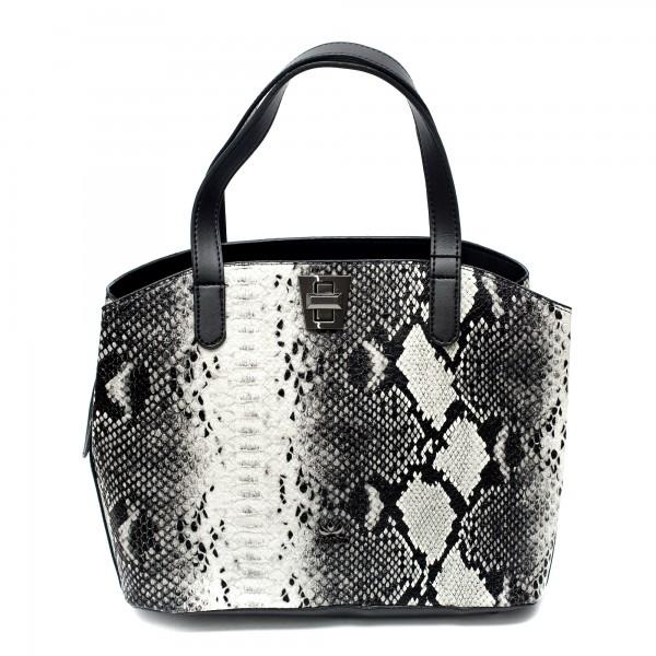 Елегантна дамска чанта от еко кожа черно-бяла змия-1073