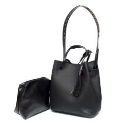 Малка черна модерна дамска чанта от еко кожа-5-985