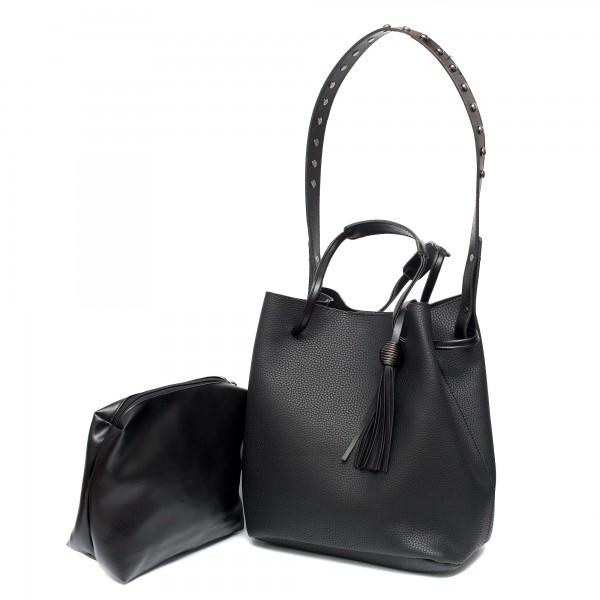 Малка черна модерна дамска чанта от еко кожа-985