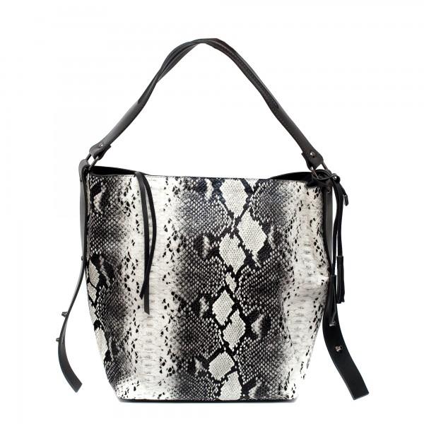 Дамска ежедневна чанта от еко кожа черно-бяла змия-1082