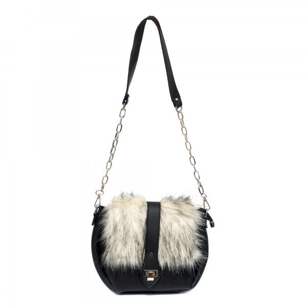 Малка черна дамска чанта от еко кожа и пух -1087