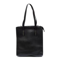 Дамска висока черна чанта от еко кожа с дълги дръжки-1085