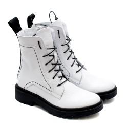 Спортно елегантни боти изработени от висококачествена бяла естествена кожа-1093