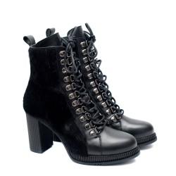 Дамски елегантни боти от естествена кожа и косъм в черно с висок ток-1101