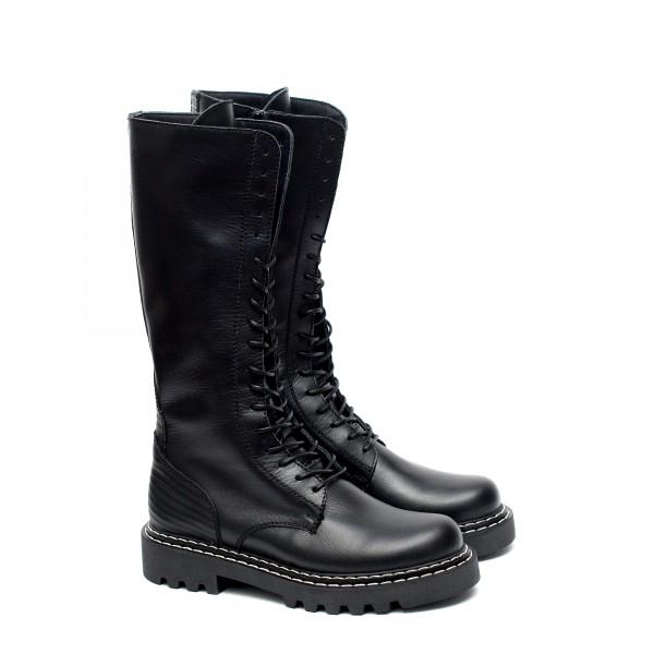 Дамски черни ботуши от естествена кожа с дебело грайферно ходило-1100