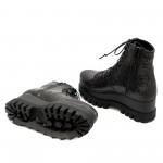 Дамски платформи от естествена черно кроко змия-1102