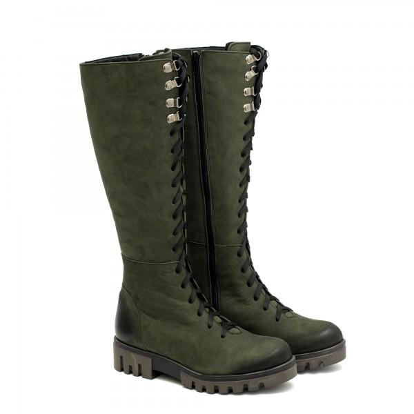 Зелени ботуши от естествен набук с връзки и цип-1107