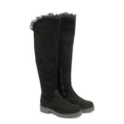 Дамски черни чизми от естествен велур с дантела и широк ток-1104
