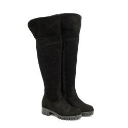 Черни дамски чизми от естествен велур и грайферно ходило-1106