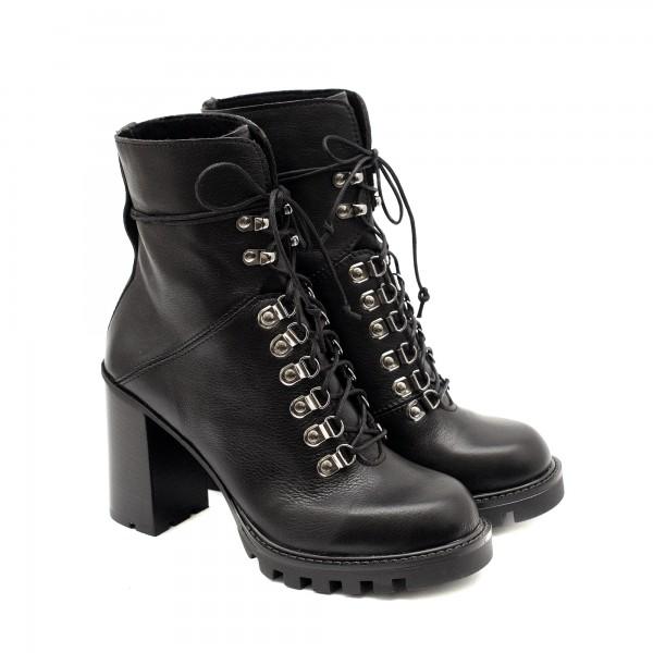 Дамски черни боти с атрактивен дизайн от естествена кожа с връзки и висок ток-1109