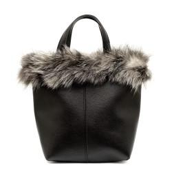 Дамска черна чанта с естествен сив пух-1108