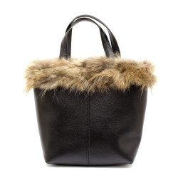 Дамска черна чанта с естествен кафяв пух-1016
