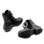 Черни елегантни боти от естествена кожа и косъм от пони с асиметричен ток-1110