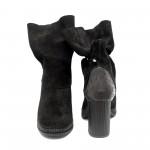 Дамски черни боти от естествен велур и кожа с висок ток и цип-622