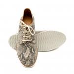 Дамски  удобни обувки от естествена кожа-бежова змия-1148
