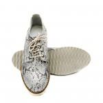 Сребърни пролетни обувки от естествена кожа змия с връзки-1147