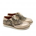 Дамски ежедневни обувки от естествена кожа в бежов змийски принт-524