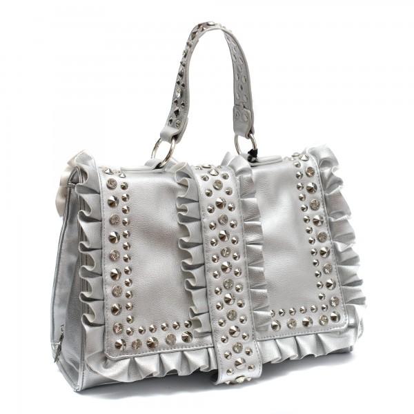 Сребриста дамска чанта с капси от еко кожа-794