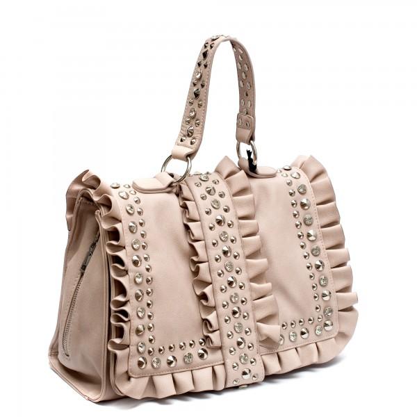 Дамска чанта с капси от еко кожа в цвят пудра-794
