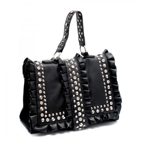 Черна дамска чанта с капси от еко кожа-794