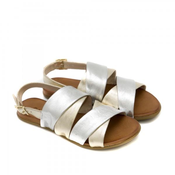 Равни дамски сандали от естествена кожа в комбинация от сребро и злато-1251