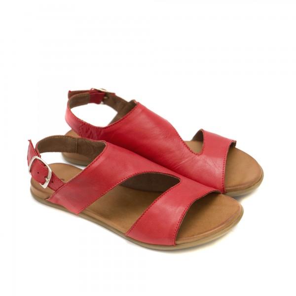 Ниски дамски сандали от естествена кожа в червен цвят-1243