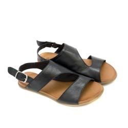 Равни дамски сандали от висококачествена естествена кожа в черно-1246