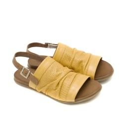 Дамски сандали от естествена кожа в цвят горчица-1244