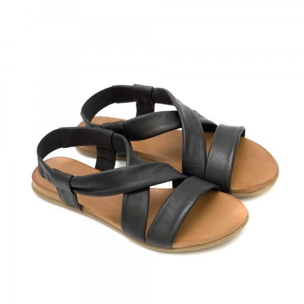 Дамски сандали от естествена черна кожа на равно ходило-1248
