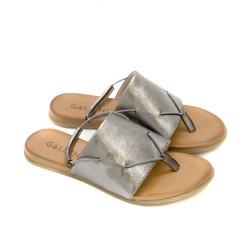 Дамски сандали от естествена кожа в цвят графит с равно ходило-1254