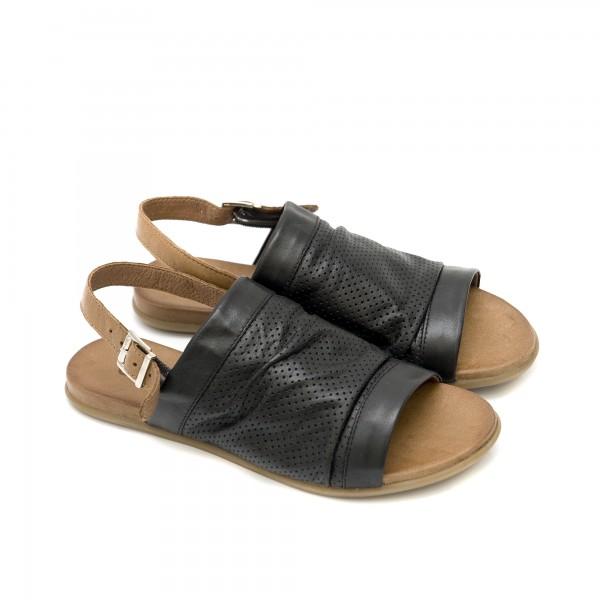Дамски сандали от естествена кожа в черен цвят на дупки-1253