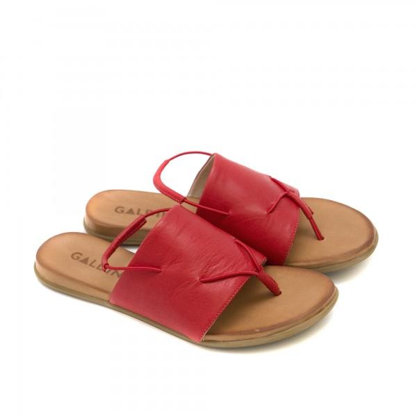 Дамски сандали от естествена кожа в червен цвят с ластик-1252