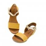 Дамски сандали на равно ходило от естествена кожа в комбинация от жълто и златно-1256