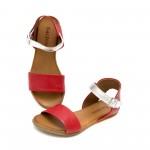Дамски сандали от естествена кожа в червен цвят и сребро-1249