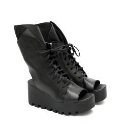 Дамски високи сандали от естествена кожа в черно на платформа-1241