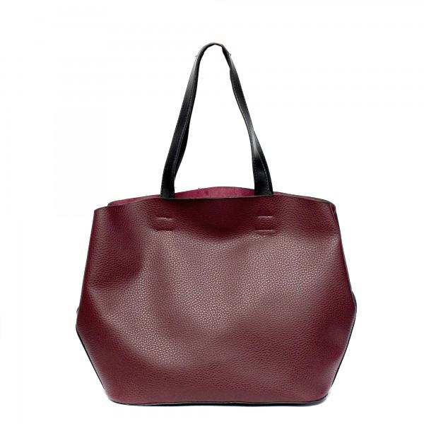 Дамска чанта от еко кожа в цвят бордо и черни елементи-977