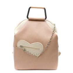 Дамска раница от еко кожа в комбинация розово и слонова кост-7-95