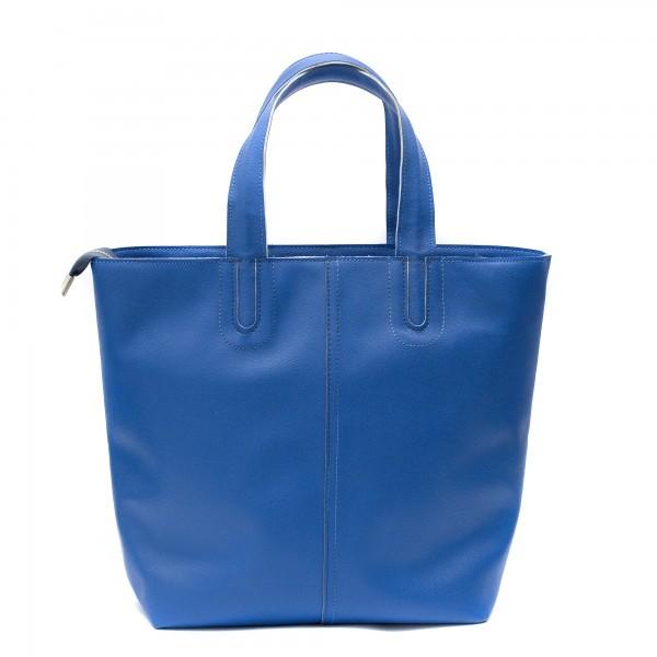 Синя дамска чанта от еко кожа с изчитена визия-