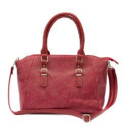 Дамска червена чанта от еко велур решена в червен цвят-