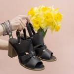 Елегантни дамски сандали в черен цвят от естествена кожа на устойчив ток-1633