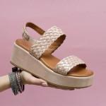 Дамски сандали от естествена кожа в розов перлен цвят с ефетни плетени елементи-1643