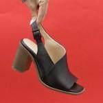 Модерни дамски сандали от естествена кожа на висок ток в черен цвят-1647